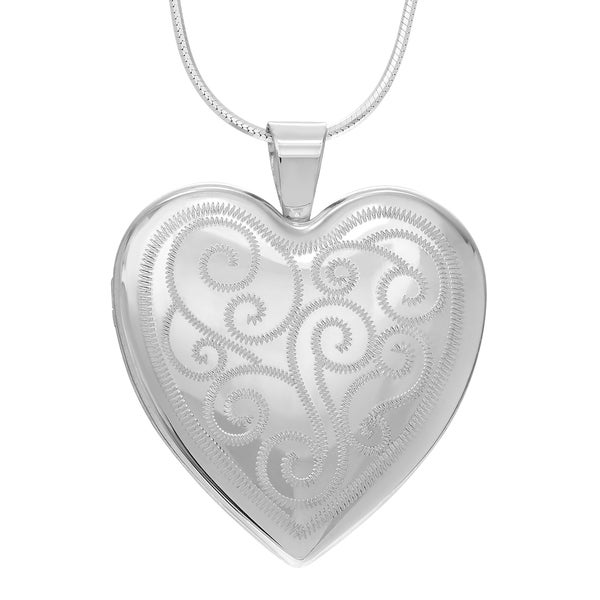 Journee Collection Sterling Silver Engraved Swirl Heart Locket Pendant