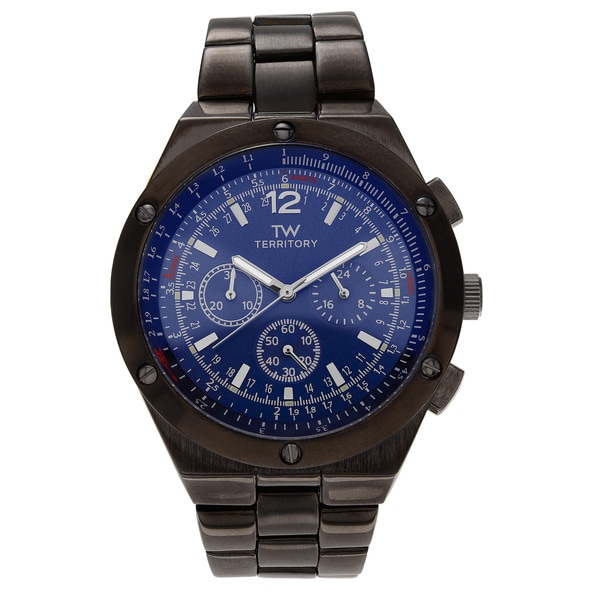 Men's Round Face Multi-function Watch with Metal Link Bracelet