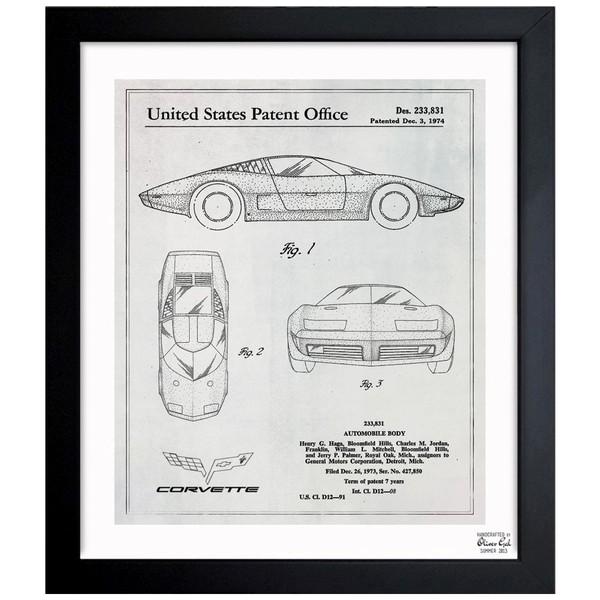 'Corvette 1974' Framed Blueprint Art