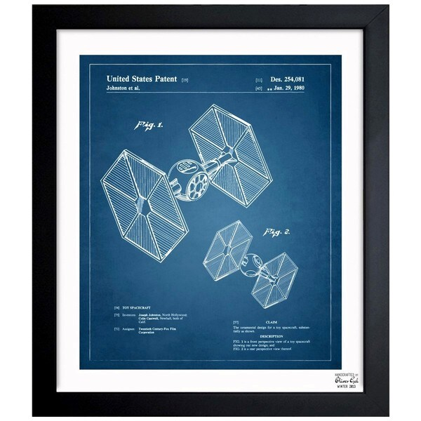 'Toy Spacecraft TIE Fighter 1980' Framed Blueprint Art
