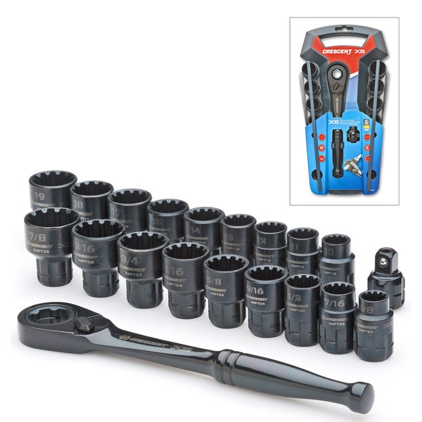 Crescent CX6PT20 Pass Through Ratcheting Socket Set 20 Piece