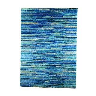 M.A.Trading Indian Hand-woven Mat Mix Blue Rug (5'6 x 7'10)