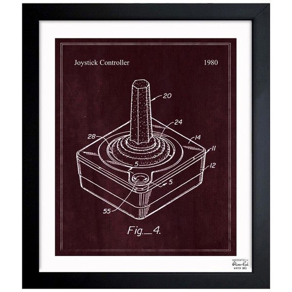 Joystick Controller, 1980' Framed Blueprint Art