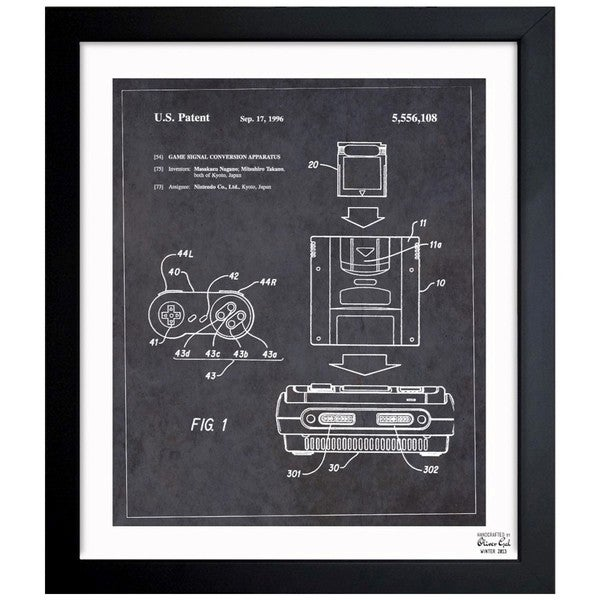 'Game Signal Conversion Apparatus, 1996' Framed Blueprint Art