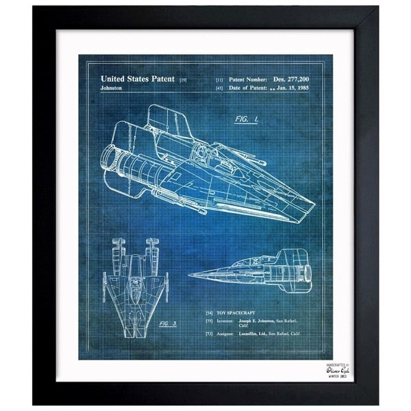'AWing 1985' Framed Blueprint Art