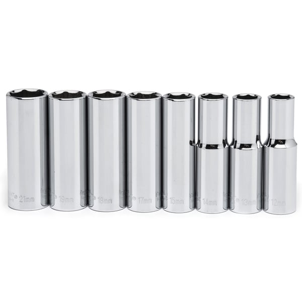 "Crescent CSAS3 1/2"" Drive 6Pt Chrome Metric Deep Socket 8 Piece Set"