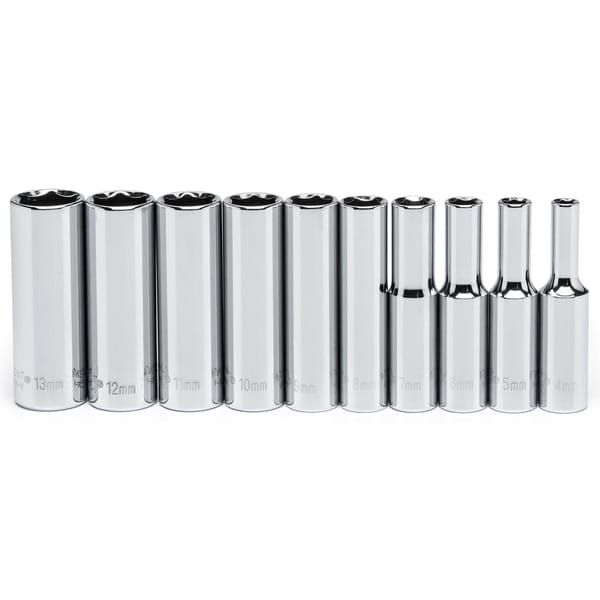 "Crescent CSAS11 1/4"" Drive 6Pt Chrome Metric Deep Socket Set 10 Piece"