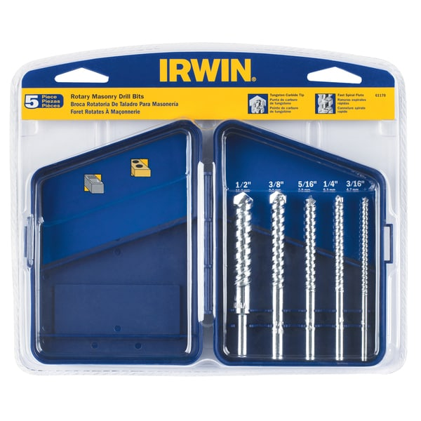 Irwin 61170 Carbide Tipped Rotary Masonry Bit Set 5-count