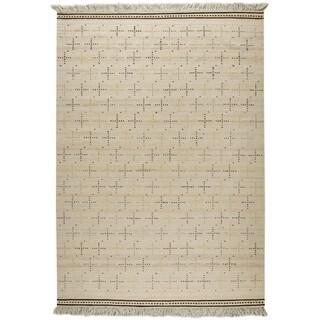 Indian Hand-woven Bergen White Rug (6'6 x 9'9)