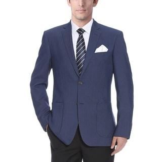 Verno Matteo Men's Navy Blue Pinhead Textured Slim Fit Italian Style Notch Lapel Blazer
