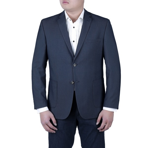 Verno Matteo Men's Navy Blue Pinhead Textured Slim Fit Italian Style Notch Lapel Blazer
