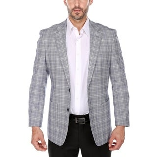 Verno Benedetto Men's Blue and Tan Glen Plaid Classic Fit Italian Style Wide Notch Lapel Blazer