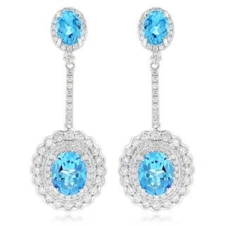 Luxurman 14k Gold 3 1/2ct TDW Diamond and Blue Topaz Earrings (G-H, SI1-SI2)