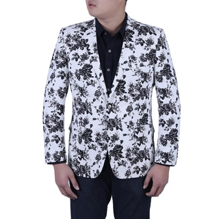 Verno Luca Men's Black and White Flower Printed Slim Fit Italian Style Blazer