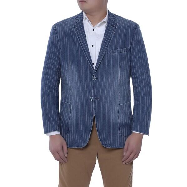 Verno Agnolo Men's Distressed Indigo Pinstriped Denim Slim Fit Italian Styled Blazer