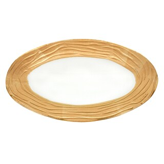 Caliente Oval Glass Tray with Gold Border