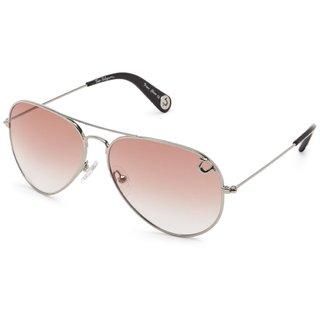 True Religion Jeff55 Orange Aviator Shiny Silver Sunglasses