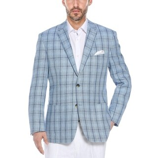 Verno Leonardo Men's Light Blue Plaid Classic Fit Italian Styled Blazer