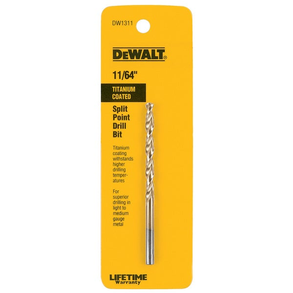 "Dewalt DW1311 11/64"" Titanium Split Point Drill Bit"