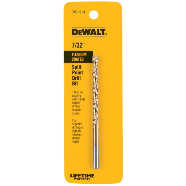 "Dewalt DW1314 7/32"" Titanium Split Point Drill Bit"