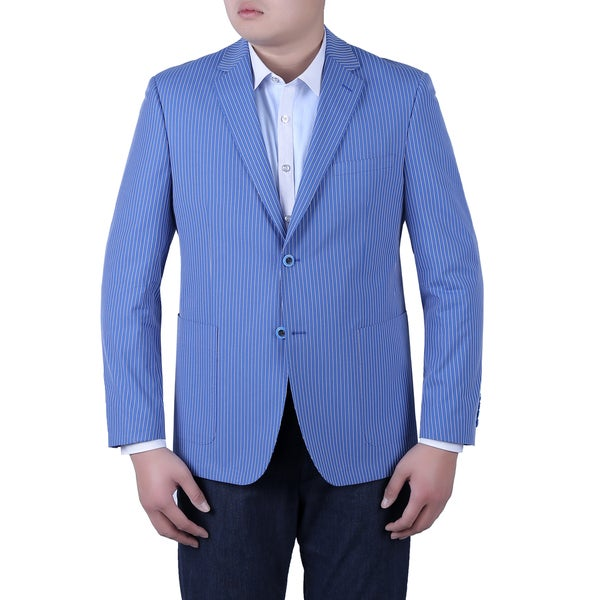 Verno Zanobi Men's Summer Blue and White Textured Pinstripe Slim Fit Italian Styled Blazer