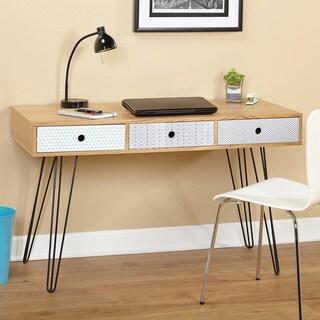 Simple Living Geometric Three Drawer Desk