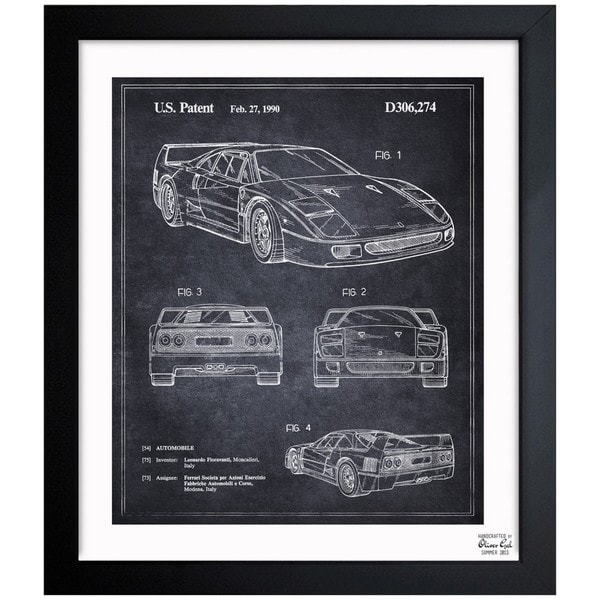 'Ferrari F40 1990' Framed Blueprint Art