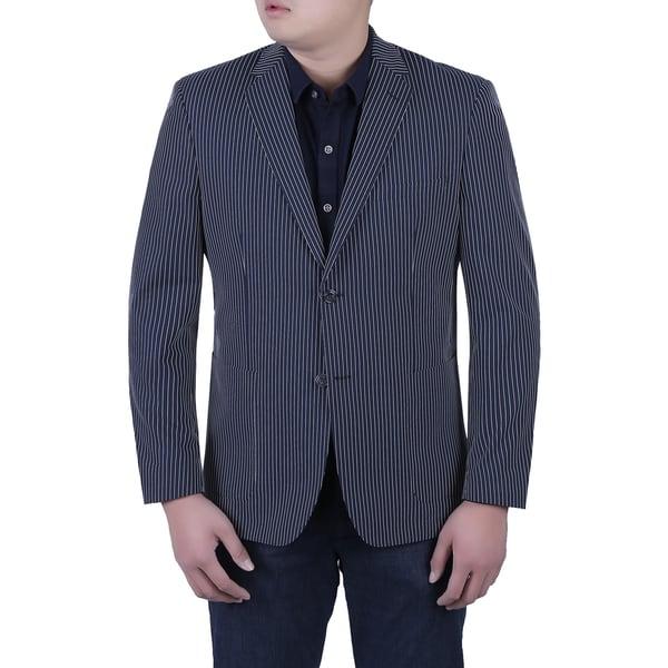 Verno Cristofano Men's Dark Navy and White Textured Pinstripe Slim Fit Italian Styled Blazer