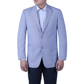 Verno Simone Men's Light Blue Birdseye Textured Classic Fit Italian Styled Blazer