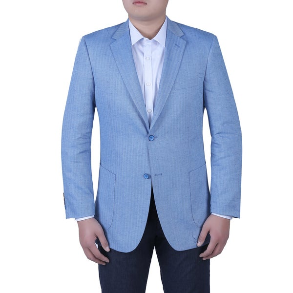 Verno Bernordo Men's Sky Blue Herringbone Textured Classic Fit Italian Styled Blazer