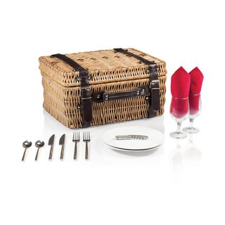 Picnic Time Champion Red Lining and Napkins Picnic Basket