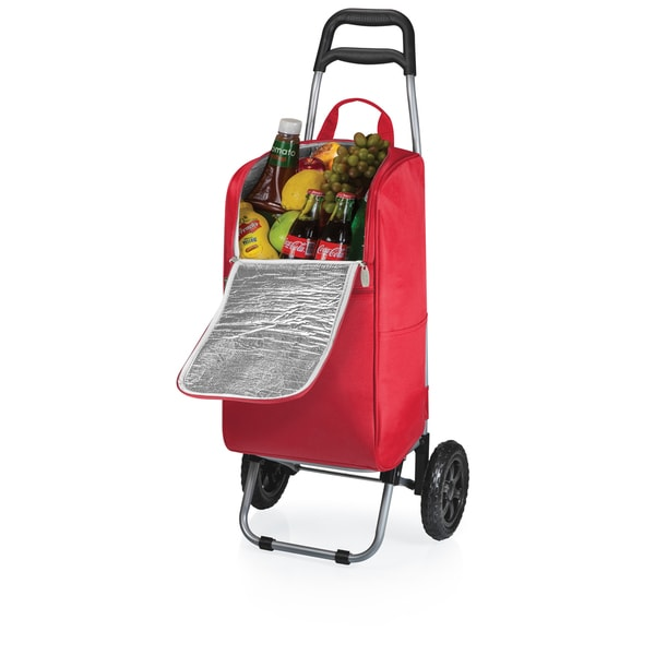 Picnic Time Red Cart Cooler with Trolley