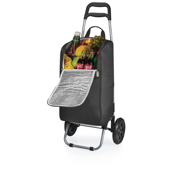 Picnic Time Black Cart Cooler with Trolley