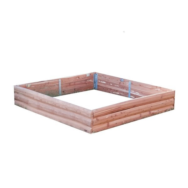 Red Cedar Log Raised Garden Bed - Square