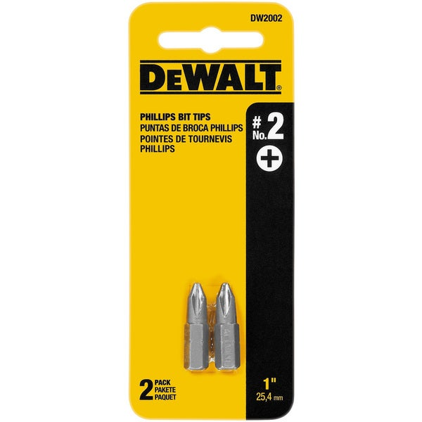 "Dewalt DW2002 1"" #2 Phillips Power Bits 2-count"