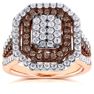 Annello 10k Gold 1 1/2ct TDW Brown and White Diamond Double Halo Octagonal Ring (H-I, I1-I2)