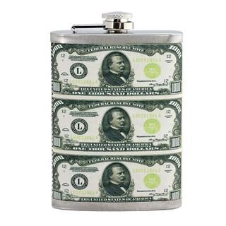 Hip Flask Featuring $1,000 Bills