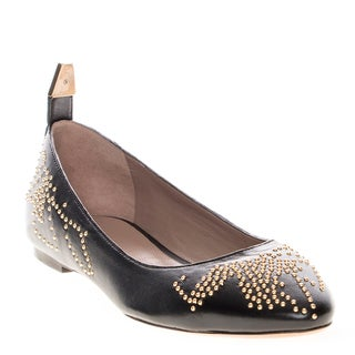 Chloe Stud-Embellished Leather Flats