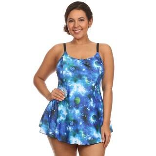 Dippin Daisy's Plus Size Blue Cosmo One Piece Swimdress