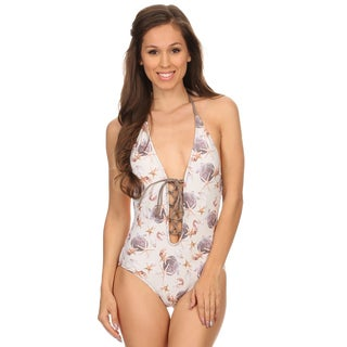 Dippin Daisy's White Shells Lace Up and Low Back One Piece Swimsuit