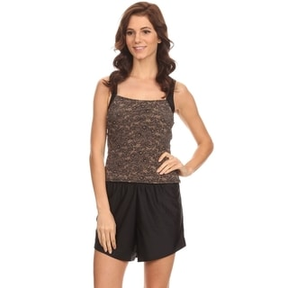 Dippin' Daisy's Brown and Black Lace Over the Shoulder Tankini
