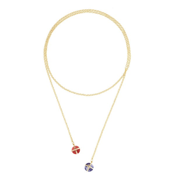 Gold Overlay Red Agate and Sodalite Lariat Necklace