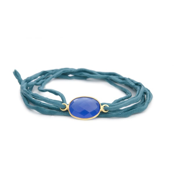 Gold Overlay Blue Chalcedony on Ocean Blue Silk Wrap Bracelet