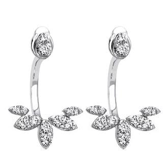 Beverly Hills Charm 14K White Gold 2/3ct TDW Diamond Behind The Ear Floating Jacket Earrings Set (H-I, SI2-I1)