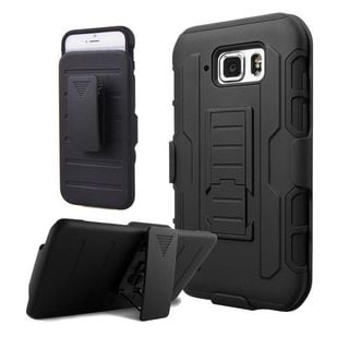 Insten Black Car Armor Hard PC/ Silicone Dual Layer Hybrid Case Cover with Holster For Samsung Galaxy S6 Active