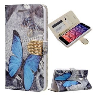 Insten Blue/ White Butterfly Leather Case Cover with Stand/ Wallet Flap Pouch/ Diamond For Alcatel One Touch Fierce XL