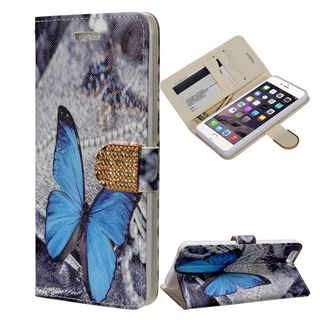 Insten Blue/ White Butterfly Leather Case Cover with Stand/ Wallet Flap Pouch/ Diamond For Apple iPhone 6 Plus/ 6s Plus