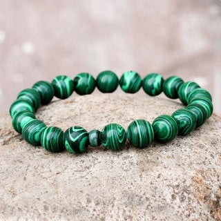 Handcrafted Ceramic 'Andean Meadows' Malachite Bracelet (Peru)