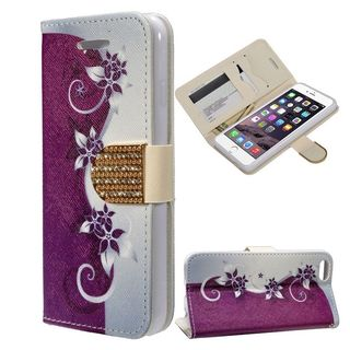 Insten Purple/ White Vines Leather Case Cover with Stand/ Wallet Flap Pouch/ Diamond/ Photo Display For Apple iPhone 6/ 6s