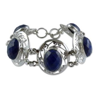 Sterling Silver 'Seductive Blue' Lapis Lazuli Bracelet (India)